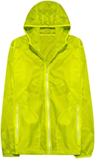 Pongfunsy Reflective Jacket with Hoodie and Waterproof Wind Breaker for Men Women Hiking Cycling Running Safety Jacket