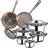 San Ignacio Bateria de cocina 8 piezas en acero inoxidable, con juego de sartenes (18,22 y 26 cm) en aluminio prensado, inducción, PK3159