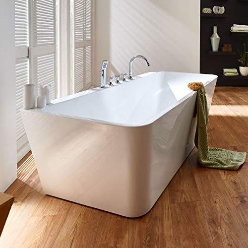 Moebella Freistehende Badewanne mit Armatur weiß Modern Acrylbadewanne 170x80cm Sylt (mit Geruchsverschluss (Flachsiphon))
