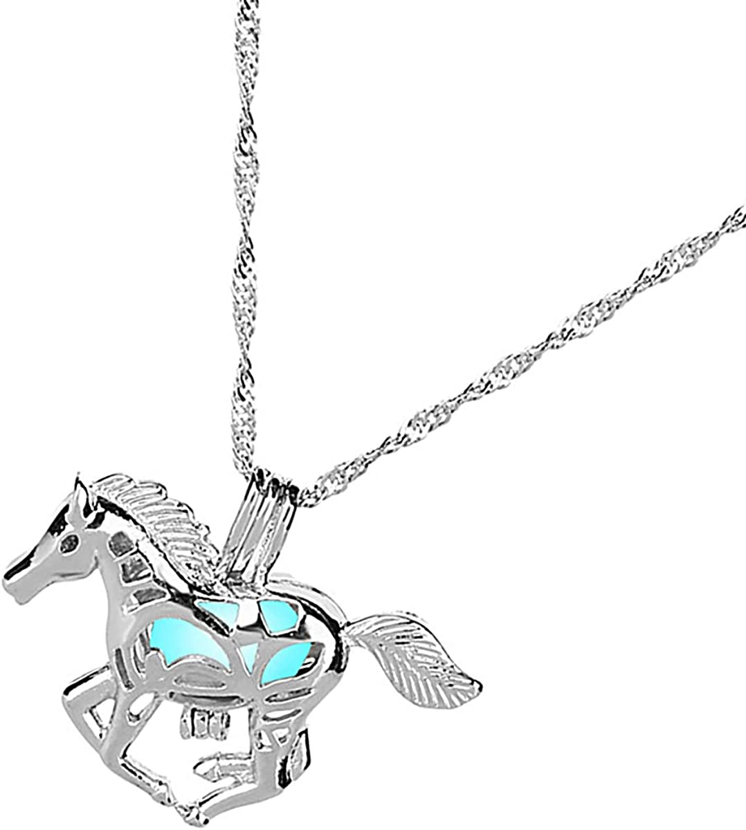 Valyria Glow in The Dark Horse Locket Pendant Necklace Luminous Series Fluorescent Charm Necklace
