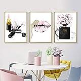JEfunv Pink Lips Print Parfüm Poster Lippenstift Make-up