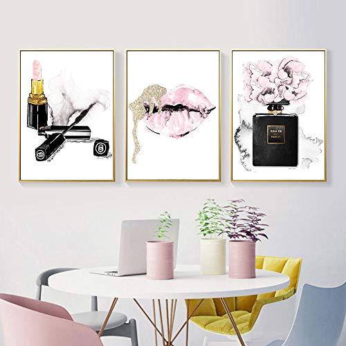 Preisvergleich Produktbild YDGG Lippen Druck Parfüm Flasche Poster Lippenstift Makeup Art Malerei Leinwanddrucke Rose Blume Wandbilder Schlafzimmer Dekor-40x60cmx3 STK. Kein Rahmen