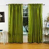 Indian Selections Oliva Verde Rod Bolsillo Pura Sari Cortina/Drape/Panel–Pieza, poliéster, Olive Green: Matching Lining, 60 X 96 Inches (152 X 243 Cms)