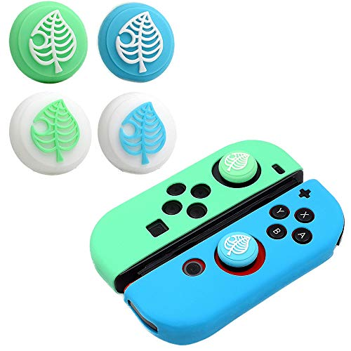 Switch Thumb Grip Caps Joystick Cap for Nintendo Switch & Lite Animal Crossing Tree Leaf Design (4 PCS), Soft Silicone case for Joy-Con Controller