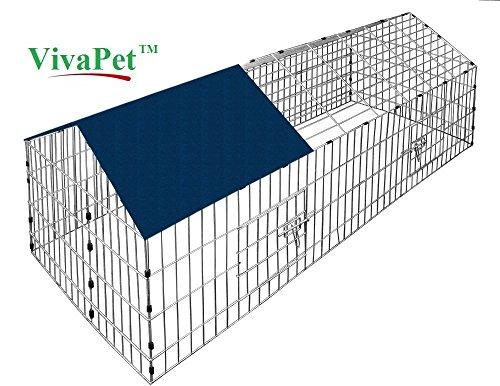 VivaPet Kaninchen/Welpen Katze Run mit APEX Dach und Sonne Schutz Net Cover, 180x 75cm