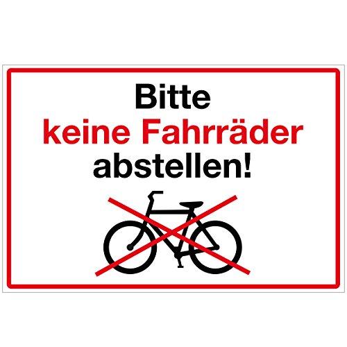 WANDKINGS Hinweisschild - Bitte Keine Fahrräder abstellen! - stabile Aluminium Verbundplatte - Wähle eine Größe - 30x20 cm