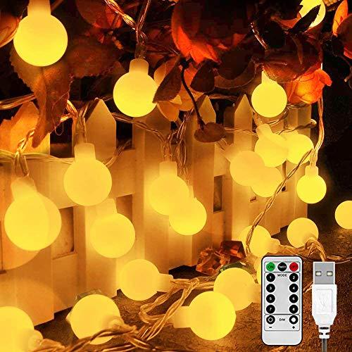 LED globe Lichterkette 10m 100 LED Lichterkette Warmweiß mit Fernbedienung, Timer, USB Stecker, Lichterkette für Innen und Außen, Balkon, Party, Garten, Weihnachtsbaum Deko usw