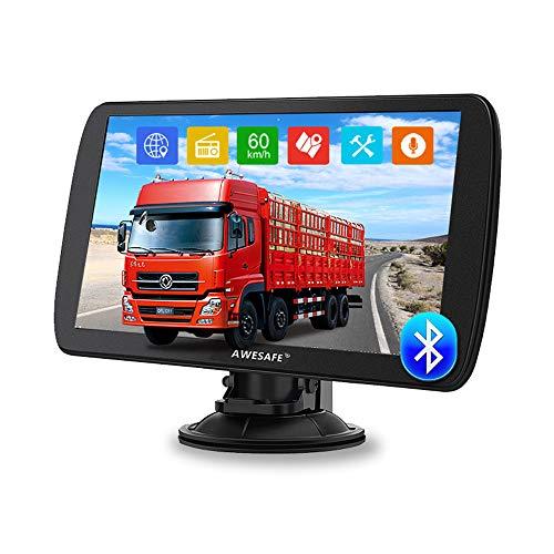 AWESAFE Bluetooth Navigatore Camion 9 Pollici 2021 GPS Navigatore Satellitare Auto Autobus Taxi, Avviso Traffico Vocale, Limite di Velocità, Aggiornamenti gratuiti delle mappe a vita