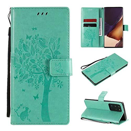 Miagon für Samsung Galaxy Note 20 Ultra Geldbörse Wallet Case,PU Leder Baum Katze Schmetterling Flip Cover Klapphülle Tasche Schutzhülle mit Magnet Handschlaufe Strap