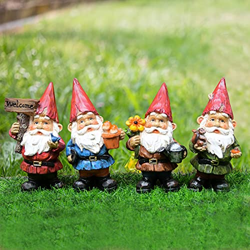 VAINECHAY Garden Gnomes Statues Outdoor Decor Garden Gnome Statue Funny Gnomes Decorations for Outside Yard Clearance Lawn Ornaments, Pack of 4
