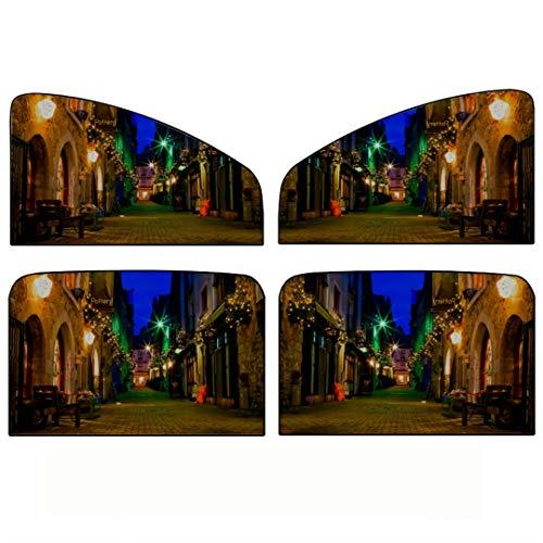 Auto Seitenfenster Sonnenschirm, 4 Stück Old Galway City Streetkerwans Lanedecorated Weihnachten Universal Magnetvorhang Mit Sonnenschutz, maximal Schützen Sie Ihr Baby, Kinder und Haustiere fit für