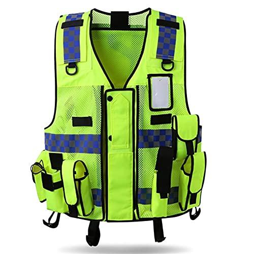 Yunding Chaleco de seguridad reflectante de alta visibilidad, chaleco táctico, gestión vial de la policía de tráfico, ajustable, con múltiples bolsillos premium, para la noche al aire libre