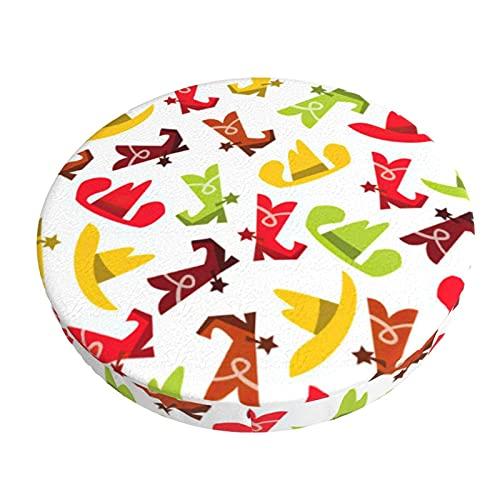 Funda para Taburete Redondo 35cm, Sombreros y Botas de Vaquero, Diseño de 3 Capas Funda de Cojín de Asiento, Práctico Lavable Protector de Silla Redondo Suave