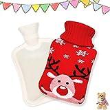 Borsa dell'acqua calda,2L Borsa dell'acqua calda lavorata maglia,Gomma Hot Water Bottle,Usato per facilità crampi e sollievo dal dolore,Rimovibile lavabile Borsa acqua calda lavorata (rosso)