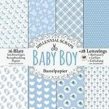 Baby Boy Bastelpapier: Scrapbooking Papier & Zubehör Blau & Grau I Dekor für Babyshower, Geburt, Einladung Basteln I Letterings zum Ausschneiden I ... (Millennial Scraps Bastelpapier)