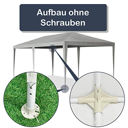 ArtLife Partyzelt 3x6 m grau mit 6 Seitenwände – Pavillon wasserabweisend & stabil – Festzelt für Garten, Terrasse, Party - Bierzelt - 4