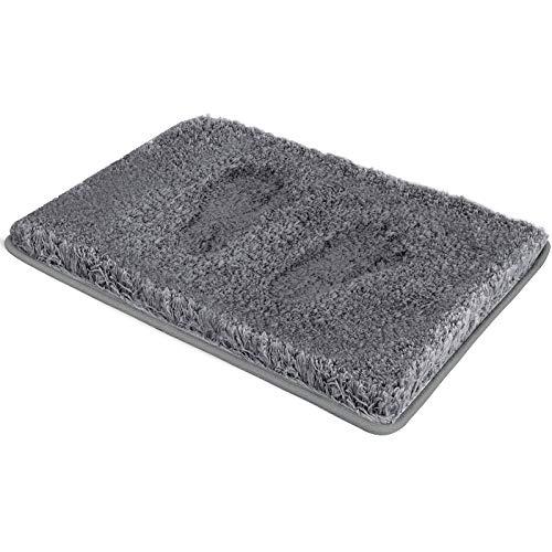 RiyaNed Tapis de bain antidérapant, doux et moelleux, tapis de bain pour baignoire, douche et salle de bain, lavable en machine, facile à nettoyer (Gris, 40 x 60 cm)