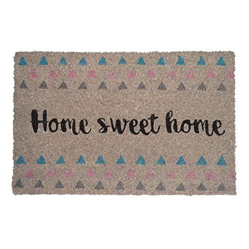 koko doormats Felpudo Triángulos para Entrada de Casa Original y Divertido/Fibra Natural de Coco con Base de PVC, 40x60 cm (Home Sweet Home triangulos)