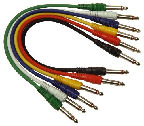 Set von 6 farbige 1 m Single Core Screened 6,35 mm Mono-Klinkenstecker auf 6,35 mm Mono-Klinkenstecker G113CC