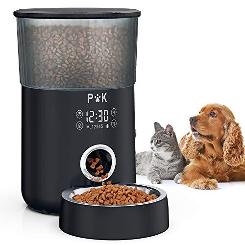 PUPPY KITTY Comedero automático, comedero Temporizador de 4L para Perros y Gatos, con Tono de dispensación Personalizado, Control de porciones, 1-5 Comidas, Cuenco de Acero Inoxidable.