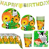 Amycute Animali della Giungla Compleanno Decorazione della Tavola, Inclusi Striscioni, Piatti, Bicchieri, Tovaglia, Bambini Compleanno Articoli