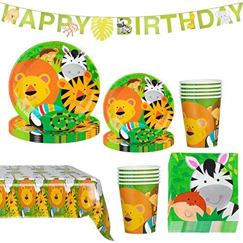 Amycute 118 piezas de animales de la jungla para decoración de la mesa, incluyendo pancartas, platos, vasos, manteles, niños y cumpleaños