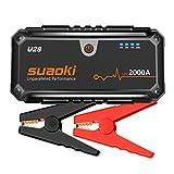 Suaoki Booster U28 2000A. Pack de démarrage lithium avec Dual USB, lampe de poche LED et câbles de démarrage pratiques pour voiture, bateau, camion en 12V.