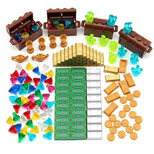 Feleph Treasure Accessories Building Blocks Set Jewel Forte, Mattonelle di soldi, Gemme Diamanti, lingotti d\'oro Bar, Power Miners Cristalli, Monete, Calice, $100 Dollaro Bill Cash Pirate Toy Brick