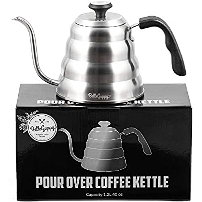 Gooseneck Kettle - Pour Over Coffee Kettle with Thermometer - Precision-Flow Spout - for Coffee and Tea, Triple Layered Base Anti-Rust, for all Stovetops 40 oz (1.2L)