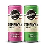 Remedy Raw Kombucha Tea – Bebida brillante cultivada en vivo – sin azúcar frambuesa limonada y manzana crujiente paquete doble – 24 latas de 250 ml