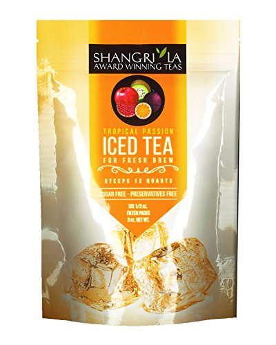 Shangri-La Tea Company Iced Tea, Tropical Passion, Unsweetened and All Natural, 0.5 Oz (6 Count) (5051)