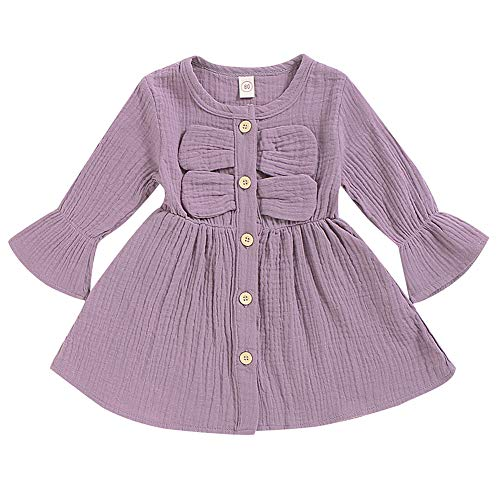 SANMIO Toddler Baby Girls Clothes Dresses Outfits Cute Ruffle Princess Party Tutu Bowknot Dress (6-12 Months, Purple-1)