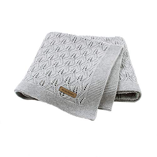 Taotigzu Manta de algodón para bebé, 80 x 100 cm, manta de punto acogedora, manta para bebé, versátil y útil como manta para cochecito de bebé (gris)