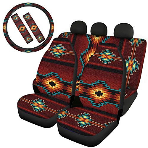TSVAGA Brown Aztec Fashion Flat Cloth Fabric Car Seat Covers Automotive Accessories Interior Decor Full Set Front & Rear Seat Covers + Steering Wheel Cover + Seatbelt Pads Universal Fit