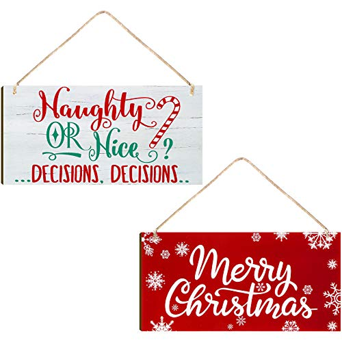 2 Pieces Christmas Wood Hanging Naughty or Nice Decisions Funny Signs Winter Decorative Wall Signs Rustic Wooden Door Sign Ornament for Indoor Outdoor Holiday Home Classroom Office Decoration
