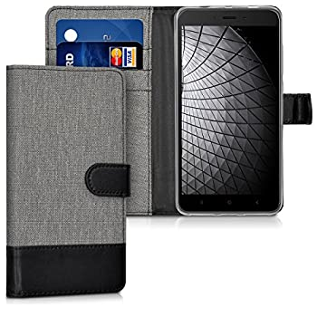kwmobile Case Compatible with Xiaomi Redmi Note 4 / Note 4X - Wallet Case Fabric and PU Leather Phone Flip Cover with Slots - Grey/Black