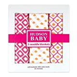 Hudson Baby Unisex Baby Cotton Muslin Swaddle Blankets, Pink Dots 3-Pack, One Size