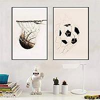 レトロなポスタープリントサッカーバスケットボール野球抽象壁アートキャンバス絵画現代の家のリビングルームの装飾(75x100cm)X2フレームレス