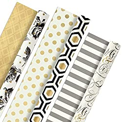 Hallmark Reversible Wrapping Paper, Elegant (Pack of 3, 120 sq. ft. ttl.)