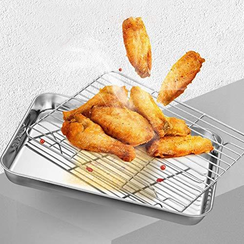 Chapa de horno con juego de rack, molde de drenaje de aceite de acero inoxidable y estante de refrigeración, seguro y duradero, fácil de limpiar. 31x24x2.5cm As Picture Show