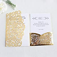 レーザーカットポケット結婚式招待状花3つ折りカスタマイズされた結婚誕生日招待状カード(envelop-metallic_gold_customized_printing付き)