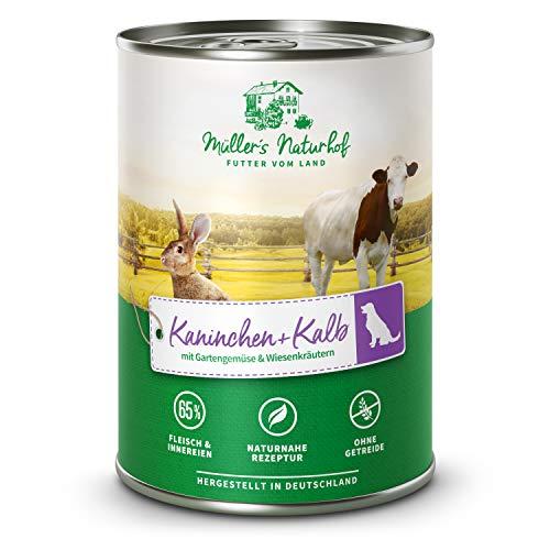 Müllers Naturhof | Kalb und Kaninchen | 6 x 400 g | Nassfutter für alle Hunderassen | getreidefrei und glutenfrei | mit Gartengemüse und Wiesenkräutern | naturnahe Rezeptur mit 65% Fleisch