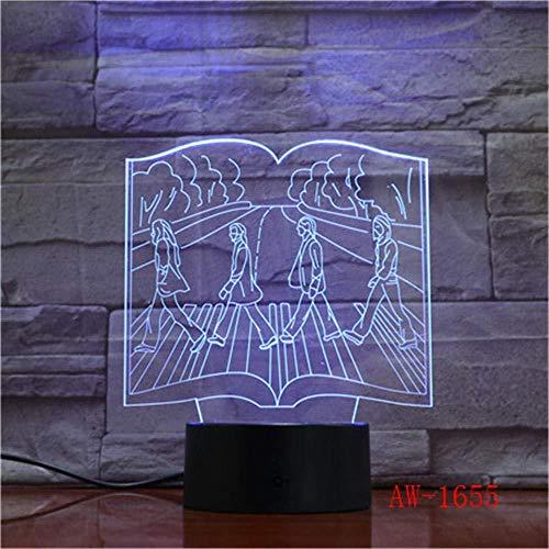3D Nachtlicht 3D visuelles Nachtlicht Skateboard Evolution des menschlichen Körpers Modell 7 Farbwechsel Acryl Schlafzimmer Tischlampe Hauptdekoration Aw-1655
