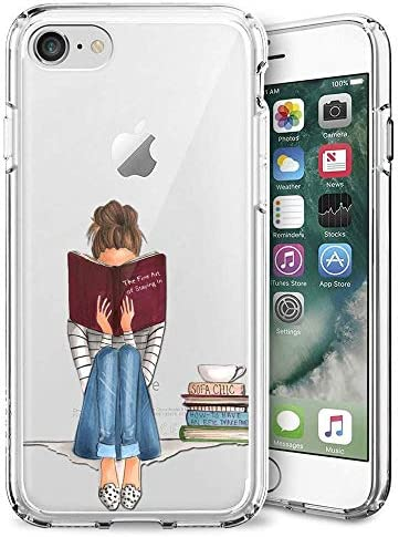 Slim Clear Girl Reading Book Case for iPhone 7 8 SE 2020 Customized Design Soft TPU and Rubber product image