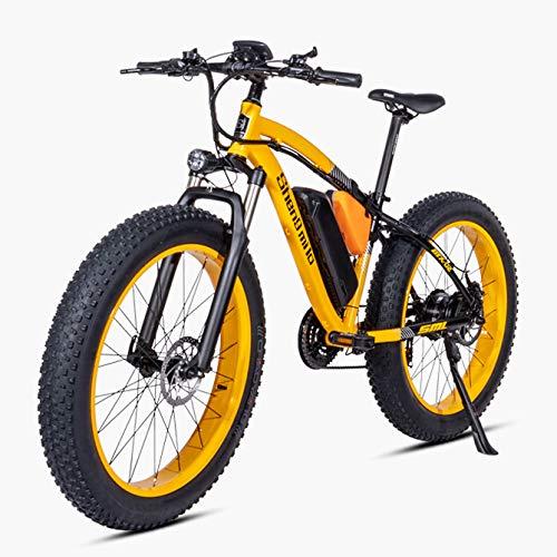 LXLTLB 26in Bicicleta Eléctrica de Montaña 48V Batería de Litio Desmontable 500W E-Bike Adulto Moto de Nieve,Amarillo