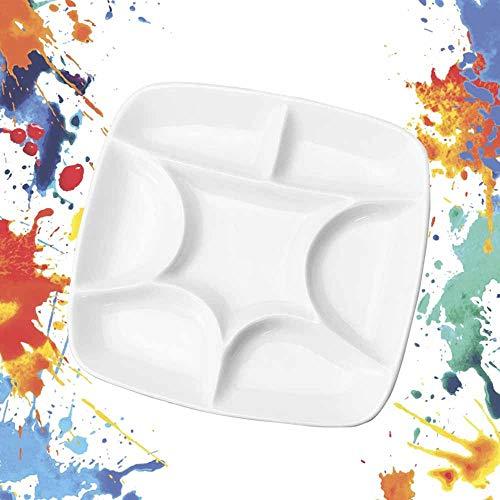 IGRMVIN Paleta de la Bandeja de Pintura con 5 Cepillos de Pintura Paleta de Artista Cuadrada Paleta de Pintura de Cerámica Paleta de Porcelana para Pintura al Óleo Acuarelas Gouache Acrílico