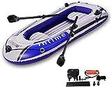 xyl Canoa Inflable para 4 Personas, Kayak de balsa de Remo de Cuerda Inflable con Bomba de Aire, Barco de Pesca portátil