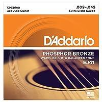 D'Addario EJ41 12弦用 フォスファーブロンズ Extra Light(09-45) ダダリオ アコースティックギター弦 EJ-41 【国内正規品】