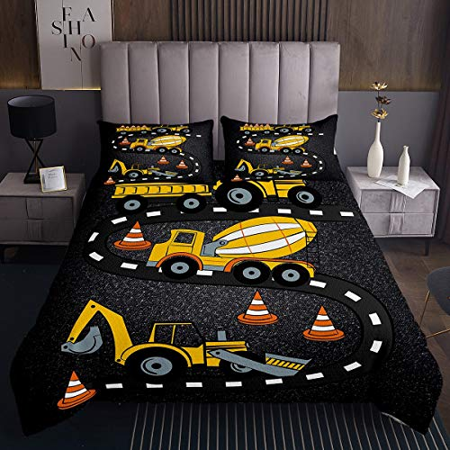 Loussiesd Cartoon Construction Cars Bedspread Excavator Coverlet for Kids Boys Heavy Machinery Equipment Yellow Quilt Set Construction Site Bed Cover with 1 Pillowcase 2Pcs Bedding Single