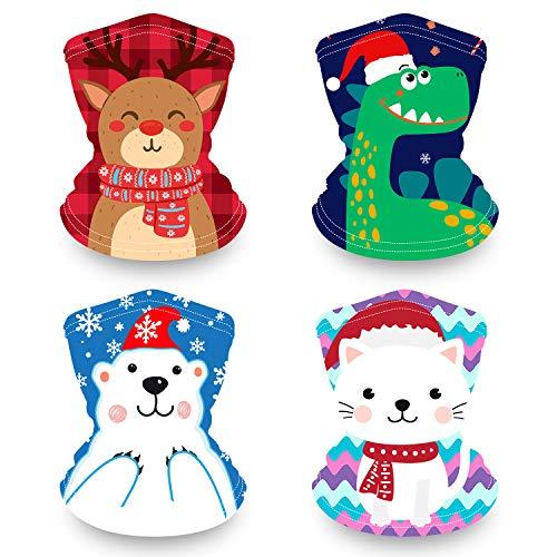 Kids Neck Gaiter Face Maks for Kids, Reusable Bandana Face Madk for Girls Boys, Washable Face Covering, Children Scarf Madks Neck Gator, Toddler Balaclava for Fishing (Christmas face mask)